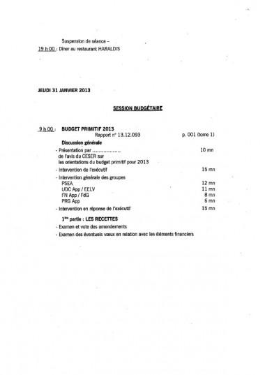 session,programme,assemblee,pleniere,janvier,fevrier,2013,budget,